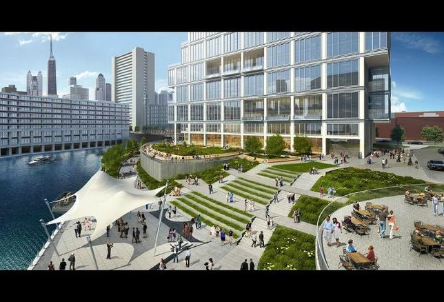 A rendering of Riverside Investment & Development's plans for 700 West Chicago.