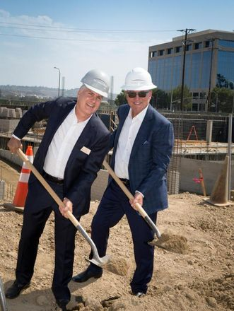 Shopoff Realty Investments CEO Bill Shopoff and The Picerne Group Founder and President Ken Picerne Uptown Newport Apartments