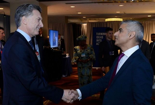 Argentina´s president Mauricio Macri with London Mayor Sadiq Khan