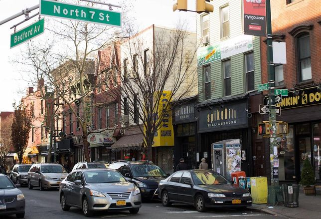 The intersection of Bedford Avenue and North 7 St. in Williamsburg, Brooklyn