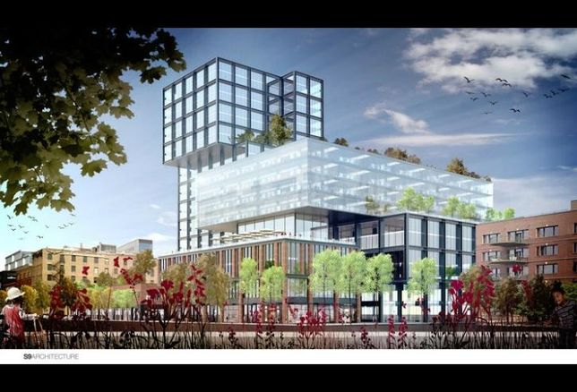 A rendering of IBT Group's planned mixed-use development at 1200 West Fulton Market, Chicago