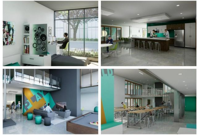 Studio House includes a mix of academic and residential uses, including living suites, communal kitchens, a game room and studio classroom space.