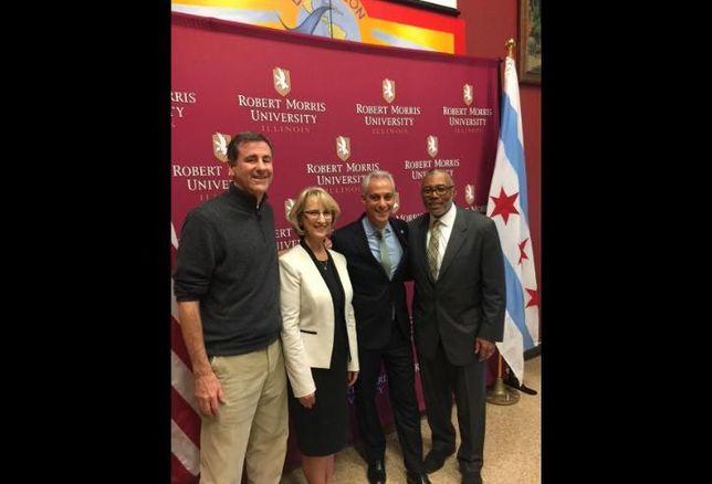 Alter Group President Michael Alter, Robert Morris University President Mablene Krueger and Chicago Mayor Rahm Emanuel