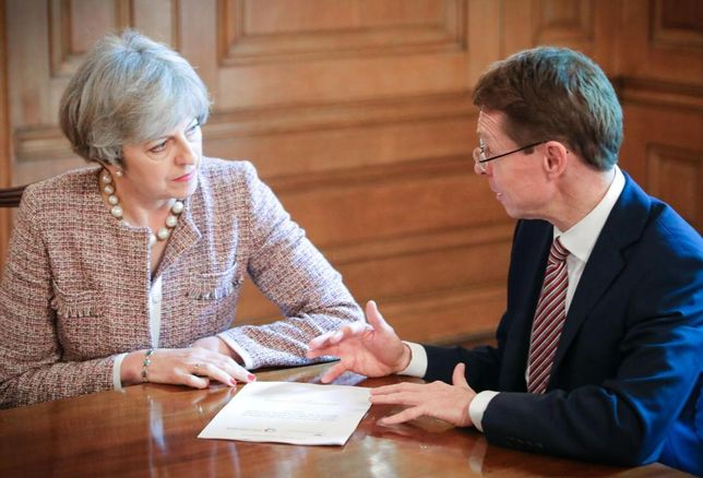 UK Prime Minister Theresa May (left) with West Midlands Metro Mayor Andy Street (right)