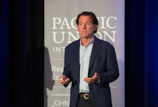 "Pacific Union CEO Mark A. McLaughlin discusses the current real estate market during the ""Pacific Union Real Estate Economic Forecast Los Angeles Area to 2020"" Nov. 29, 2017 at the Skirball Cultural Center in Los Angeles."