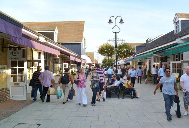 central boulevard at Bicester Outlet Village, Oxfordshire, UK