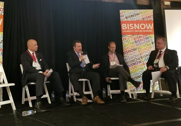 City of Cincinnati City Manager Harry Black, Hamilton County Commission President Todd Portune, Neyer Properties President and CEO Dan Neyer, and SVN | RICORE Investment Management Inc. Principal and Executive Managing Director John Rickert, who moderated.