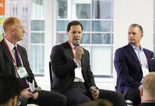 Berdon LLP partner Seth Molod, RXR Realty President and Chief Financial Officer Michael Maturo and Money360 President Gary Bechtel speak at Bisnow's 2018 NYC Forecast event Dec. 12, 2017.