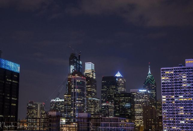 The Philadelphia skyline at night