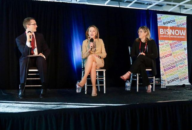 Moderator Allen Matkins Partner Matt Fogt discusses the Orange County State of the Market with Steadfast Companies President Ella Shaw Neyland and Meyers Research Principal Mollie Carmichael at Bisnow's Orange County State of the Market Jan. 23 at the Hive in Costa Mesa.