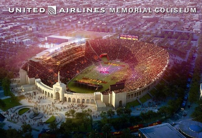 Los Angeles Memorial Coliseum – a city landmark and home of the University of Southern California Trojan football team - will be renamed as the United Airlines Memorial Coliseum starting in 2019.