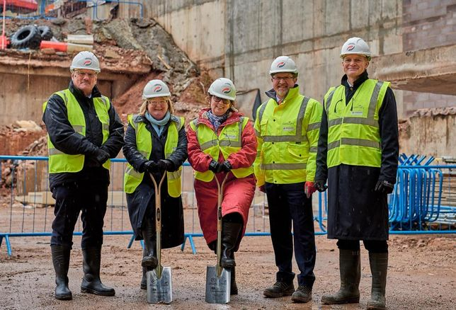 Neville Myers, Irene Masterton, Frances Khan-Msuya, Andrew Sutherland, Adam Kerr at the start of work on site at the 240K SF office block 3 Arena Central, Birmingham, funded by Legal & General and to be occupied by HM Government.