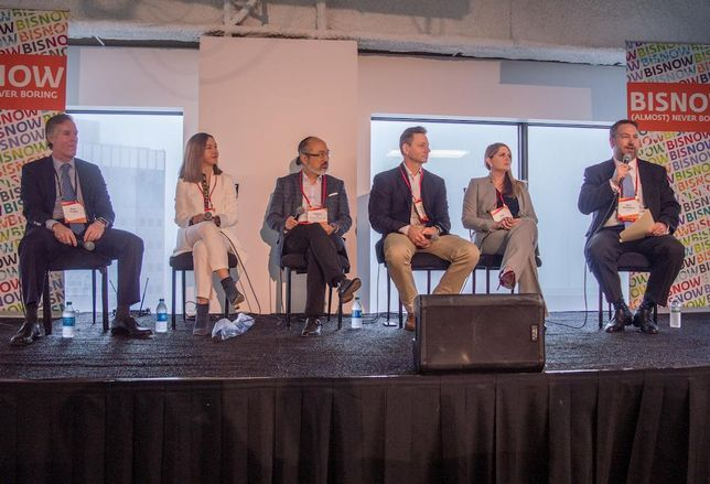 JLL President, South-Central Region, Brad Selner, Downtown Dallas Inc. President and CEO Kourtney Garrett, Genesis Real Estate Group President and CEO Gordon Ip, TriArc Construction President and co-owner Shane Deville, Stream Realty Vice President Sara Terry and Corgan Associate Principal Matt McDonald at Bisnow's Future of Downtown Dallas Event