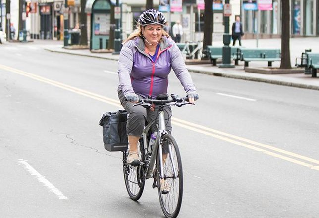 Christine Weber commutes to work in Uptown Charlotte via bicycle.