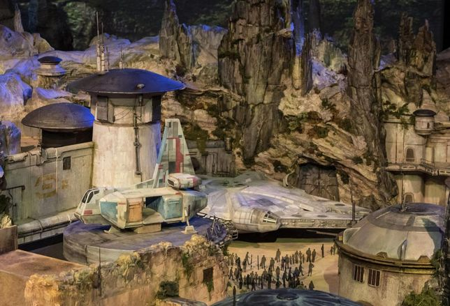 A model display of the Millennium Falcon being built for Star Wars: Galaxy's Edge at Disneyland in Anaheim.