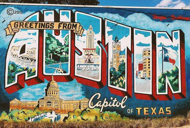postcard mural Austin Texas 2017
