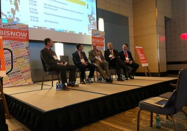 SVN Senior Advisor Bryan Donaldson, who moderated, Trammell Crow Co. Senior Vice President James Murray-Coleman, EdR Collegiate Housing Vice President Frank Witt,  Walker & Dunlop Investment Sales Managing Director Chris Doerr, and SunCap Property Group Director Nathan Lutz.