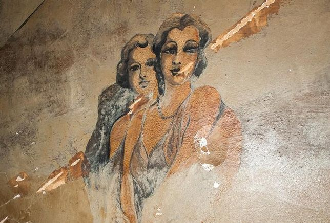 One of the Prohibition-era murals discovered during the Louisa Building renovation