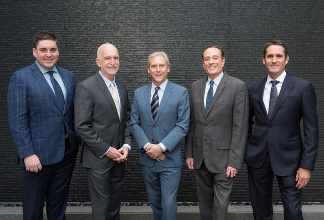 The former CRA team joins Ed Sachse at Kennedy Wilson's Beverly Hills headquarters. From left to right: David Eagan, Jeremy Dee, Ed Sachse, Alan Gecht and Gary Goodgame.