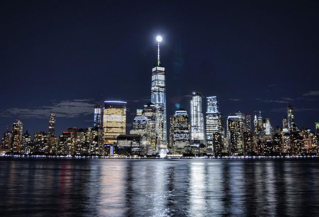 The tallest building in the country, One World Trade Center looms over Lower Manhattan.