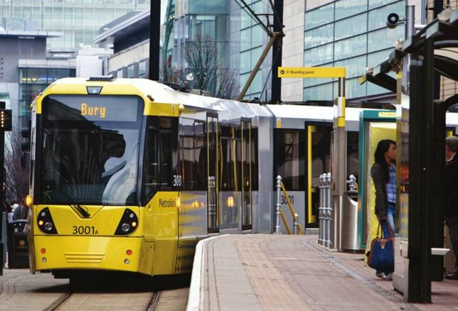 Manchester metrolink tram at Market Street stop