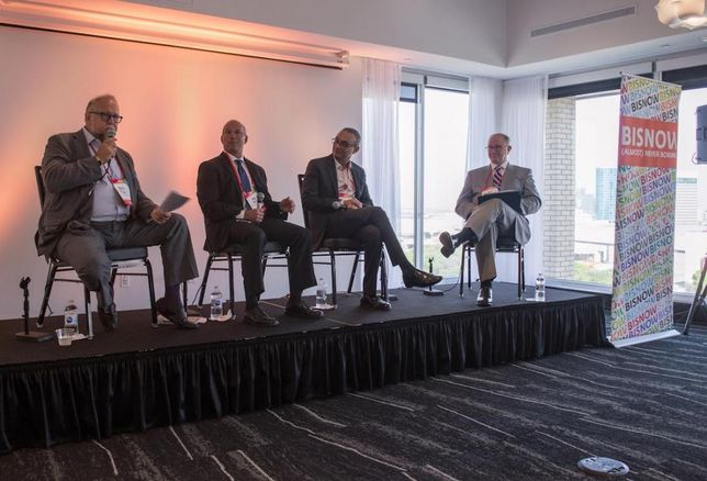 Gatehouse Capital CEO Marty Collins, Hall Structured Finance President Mike Jaynes, La Quinta Executive Vice President and Chief Development Officer Rajiv Trivedi and CBRE Hotels Director Jeff Binford at Bisnow's Dallas Lodging Summit