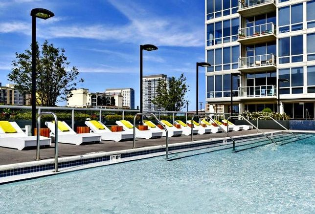 Amenities at Crescent Heights' The Lex, near McCormick Place, include a rooftop pool.