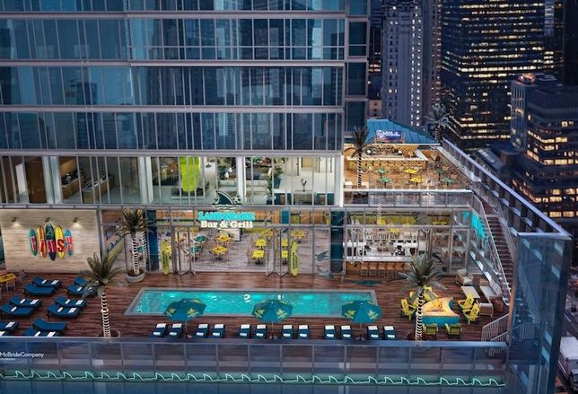Rendering of the Landshark Bar & Grill at the planned Margaritaville Hotel in Times Square