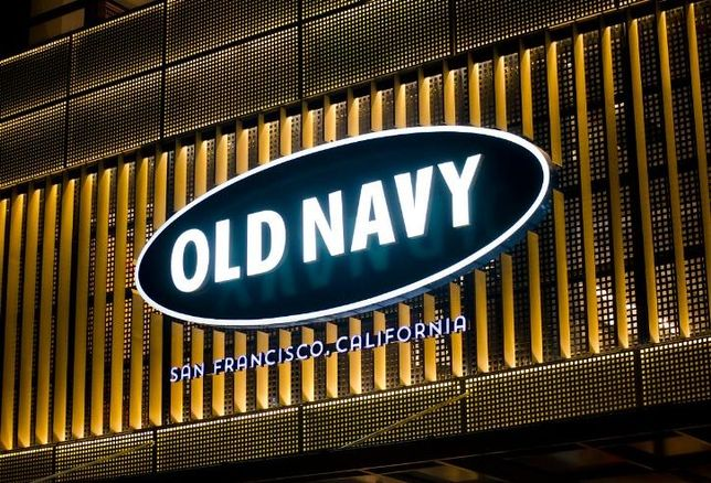 An Old Navy store logo in neon lights