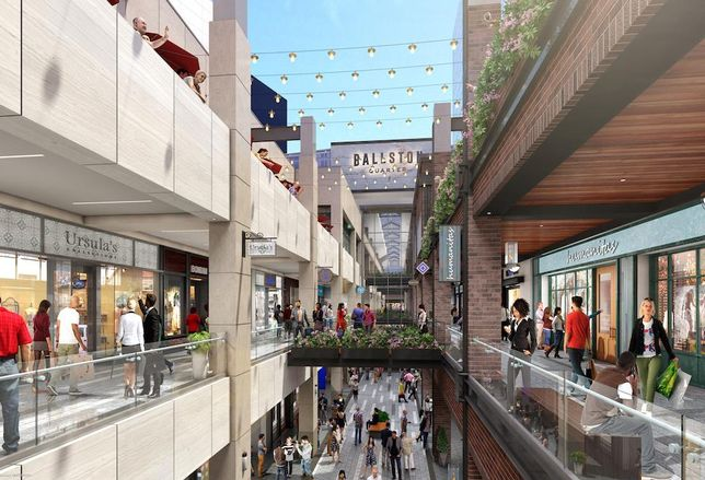 A rendering of the retail spaces at Forest City's Ballston Quarter