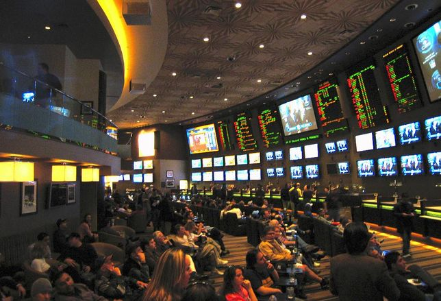 The sports betting area at the MGM Grand casino in Las Vegas.