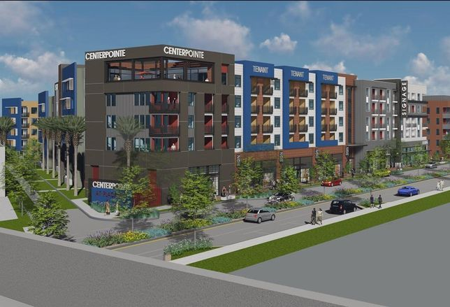A rendering of Blackwood's 418-unit mixed-use development in Placentia.