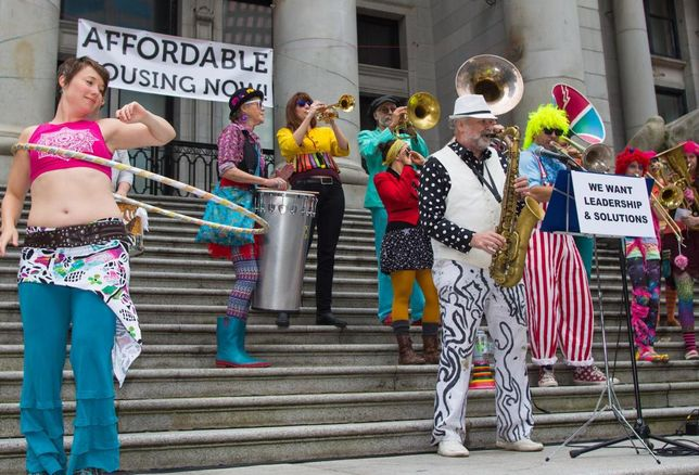 affordable housing protest Vancouver 2015 belly dancer saxaphone
