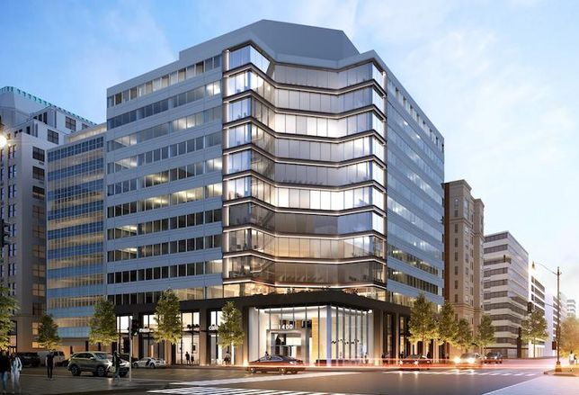 Rendering of 1400 L St. NW, set to undergo at $20M renovation