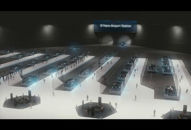 A rendering by The Boring Co. of what its station high-speed rail station at Block 37 would look like.