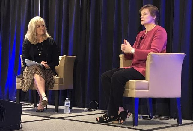 The Strategic Solution's Kendall Pretzer speaks with opening keynote speaker Gables Residential CEO Sue Ansel