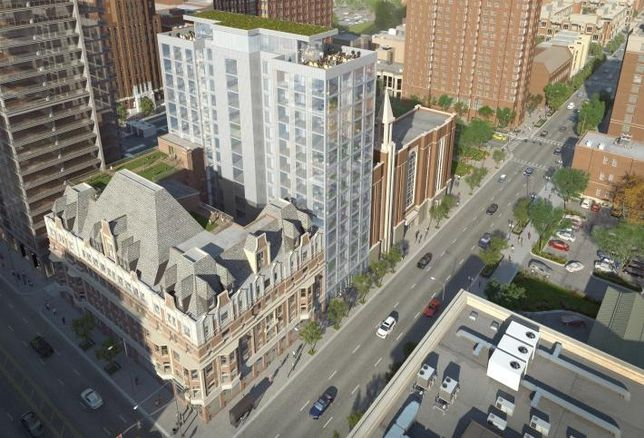 A rendering of Cedar St.'s redevelopment of the Bush Temple of Music, including a new 16-story apartment tower adjacent to the historic building.