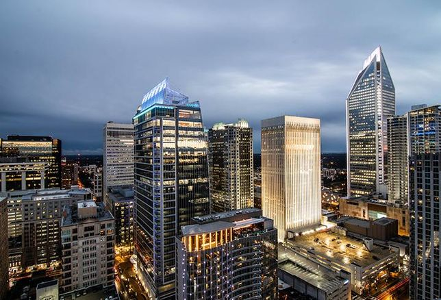 The Charlotte skyline includes its newest addition, 300 South Tryon, developed by The Spectrum Cos.