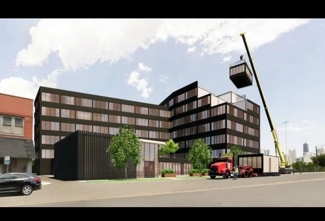 A rendering of a modular construction project envisioned by Skender.