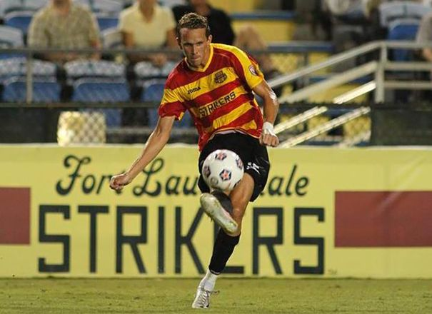 NKF Capital Markets Financial Analyst Scott Gordon used to play Major League Soccer, including Fort Lauderdale Strikers, shown.