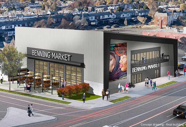 Rendering of Benning Market, a planned food hall in Deanwood, D.C.