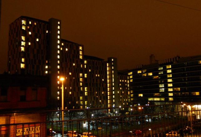 Manchester after dark night towers lights windows