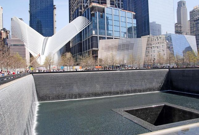 The 9/11 Memorial, with the World Trade Center Oculus and 9/11 Museum in the background