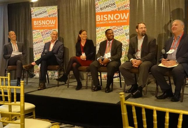 Dialog's Vance Harris, who moderated, Chariot's Dan Grossman, Stanford University's Jessica Alba, BART's Sean Brooks, Overra Construction's Vinson Heine and Caltrain's Jim Hartnett on the transit panel at Bisnow's Office West event in San Francisco
