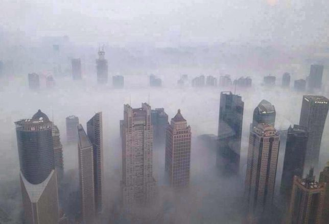 smog china skyscrapers pollution air