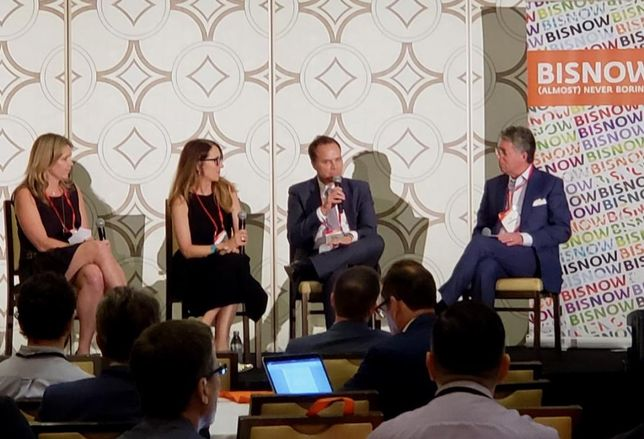 JLL's Shauna Mattis, Colliers International's Julie Taylor, Colliers, Shook Kelley's Kevin Kelley and GPI Cos.' Lee Wagman during a panel on Sept. 26 at Bisnow's RetailWest event at the JW Marriott.
