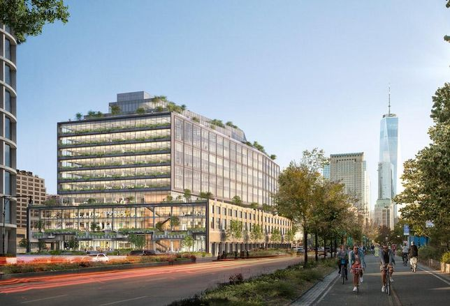 A rendering of Oxford Properties' redevelopment of St. John's Terminal in Manhattan's Hudson Square neighborhood.