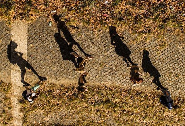 students walking campus