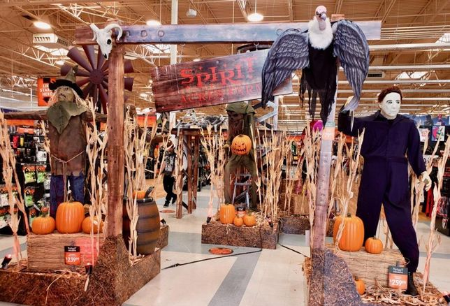 The interior of a vacant Toys R Us has been transformed into a Spirit Halloween, seasonal pop up shop in Seal Beach, Calif.