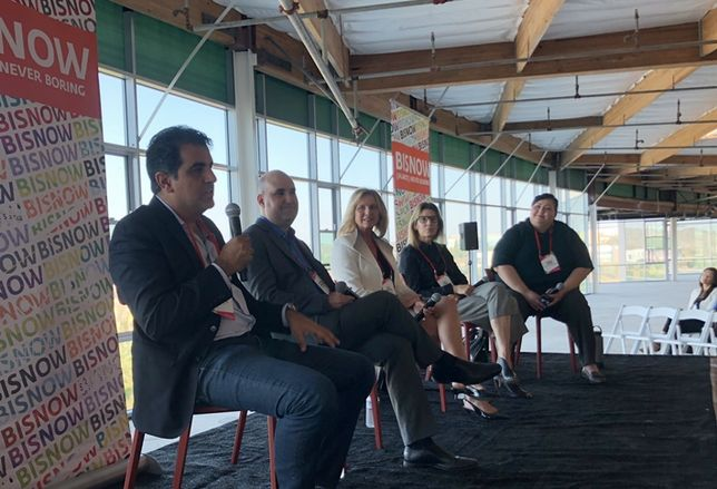 Openpath CEO Alex Kazerani, Regent Properties Executive Vice President Matthew Benbassat, Newland Properties Senior Vice President Development Rita Brandin, Shea Properties Senior Vice President Kiril McKee and Hitzke Development Corp. President Ginger Hitzke, who moderated.